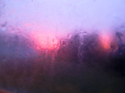 pink blue sunset window water purple condensation