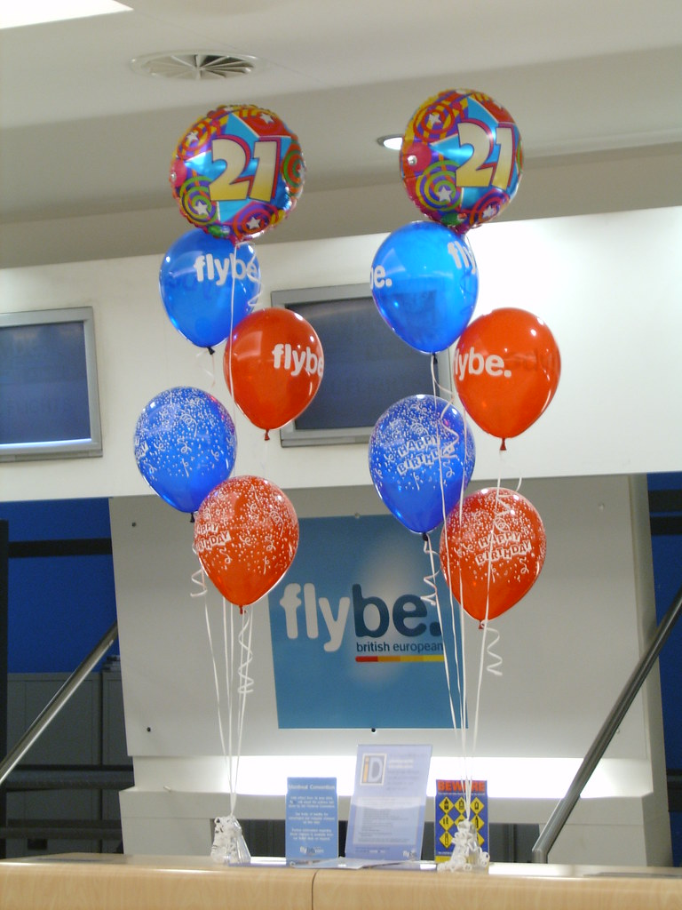 21st Birthday balloon bouquets for FlyBe at Belfast City A