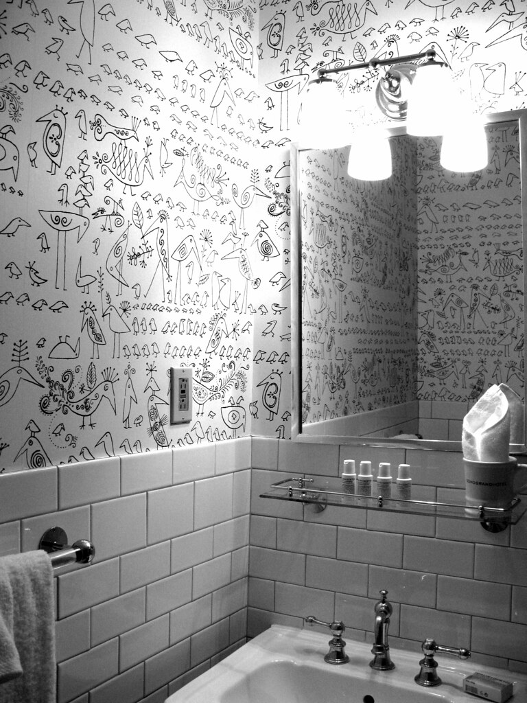Whimsical Wallpaper The Fun Bathroom At The Soho Grand Hot Flickr