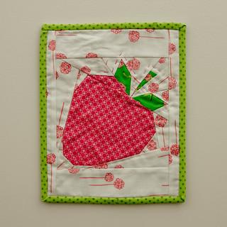 Strawberry mug rug or mini mini wall hanging ;)