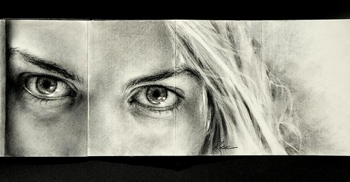Erin's Eyes - Moleskine Charcoal Drawing by wmwrose