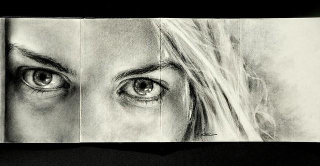 Erin's Eyes - Moleskine Charcoal Drawing