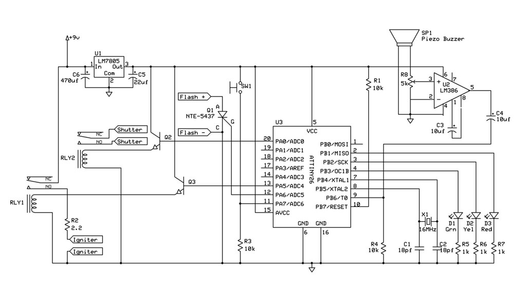 schematic for flash/shutter/firework controller | by joe plocki  (turbojoe)