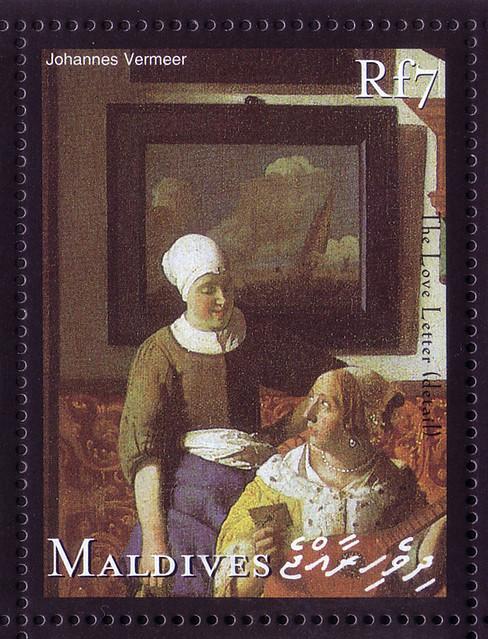 【Vermeer's letter stamp】モルディブ諸島2001/1/15 b