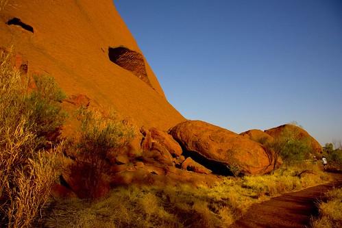 The stunning red of Uluru at sunset