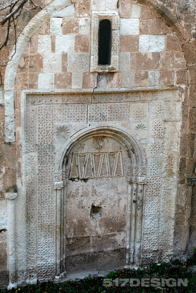 Ornamental wall in Armenian Dadivank (1 cent.), Karvachar (Kelbadjar), Artsakh (Nagorno-Karabakh) Republic