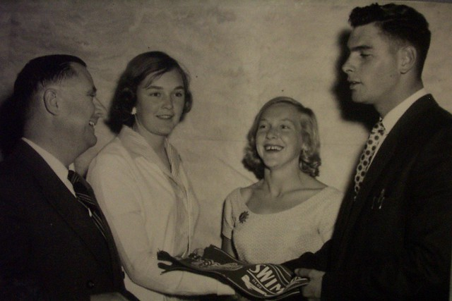 Mr Griffith H. Duncan presenting swimming team members with awards, Newcastle Teachers' College, Australia -  c.1958