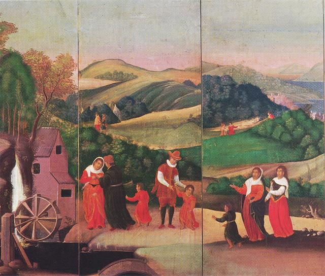 「西洋風俗屏風(水車のある西洋風俗屏風)(部分)」 17世紀初期