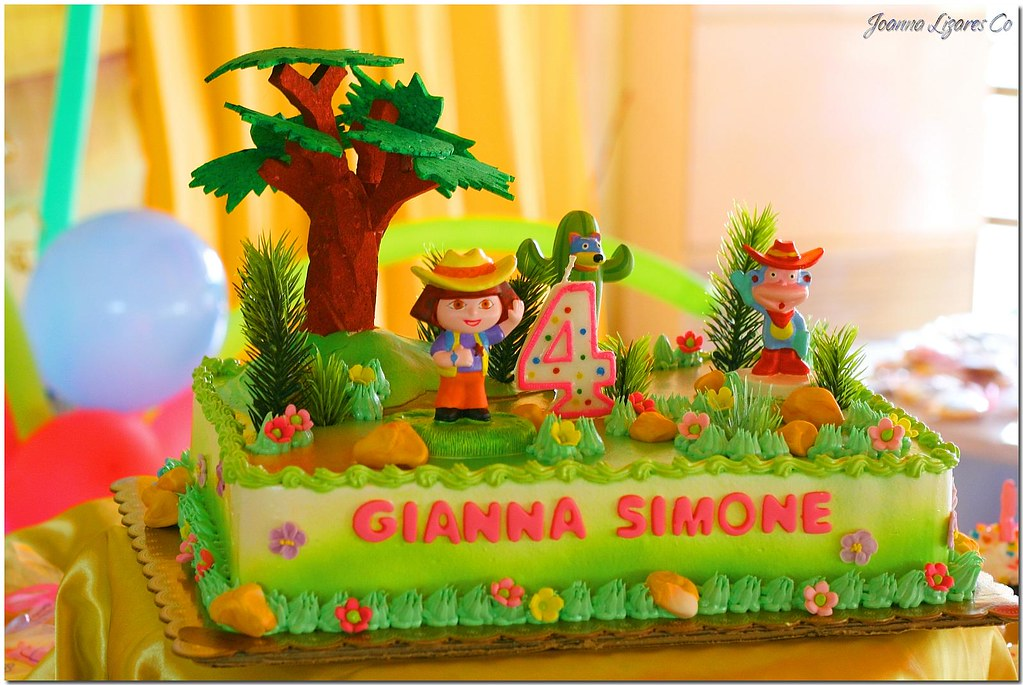 Peachy Birthday Cake Dora The Explorer If Theres Something Th Flickr Personalised Birthday Cards Veneteletsinfo