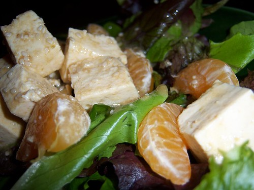Tofu & Clementine Salad with Miso Wasabi Dressing | by chefelf