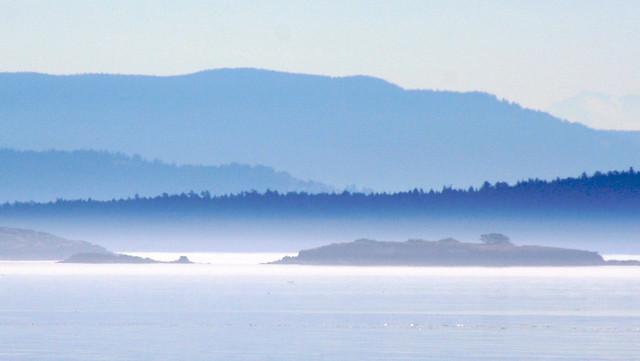 island view misty landscape