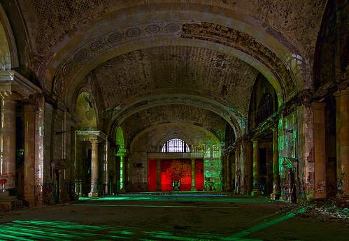 abandoned station night ruins michigan detroit central terminal depot