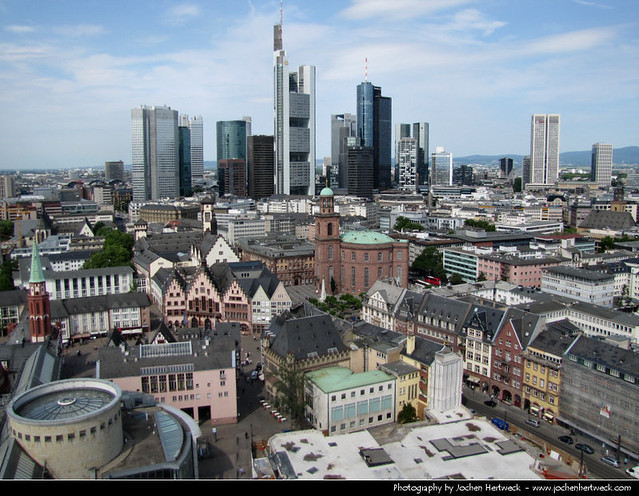 Skyline seen from the observation deck of the Dom, Frankfurt, Germany