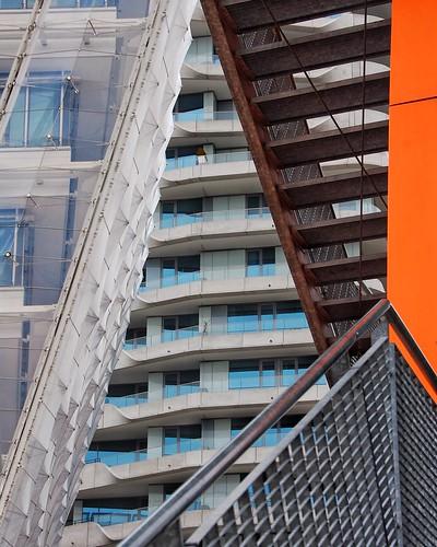abstract stairs banister orange facade germany hafencity hamburg