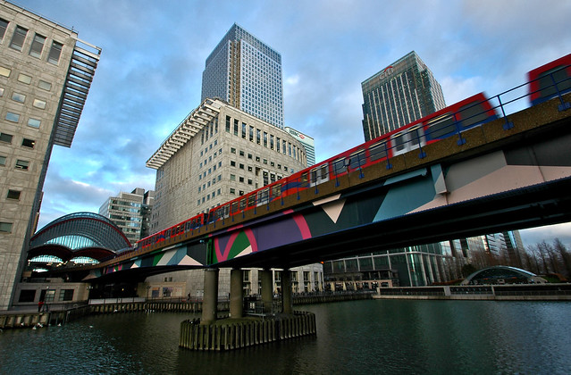 DLR Passing By Canary Wharf