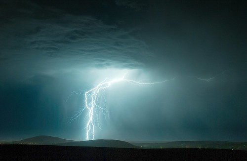 Thunderstorm over the Tri-Cities, evening of August 7 2008   by Scott Butner