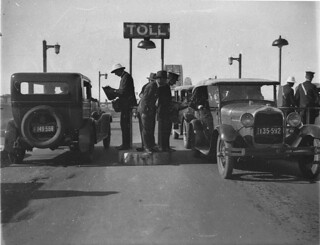 Opening of the Sydney Harbour Bridge; the first cars at the toll bar, 1932