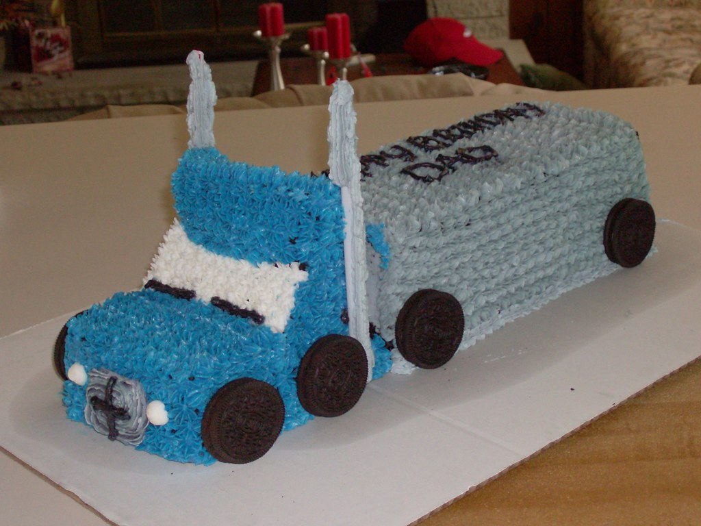 Tremendous Semi Truck Birthday Cake Bec Flickr Funny Birthday Cards Online Alyptdamsfinfo