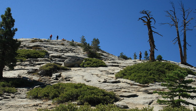 Hikers working their way up Sentinel Dome - not a bad hike at all