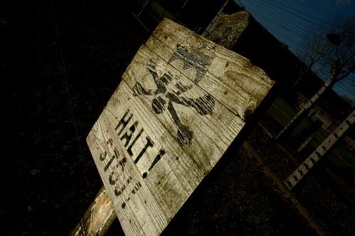 Stop! Original sign in Auschwitz