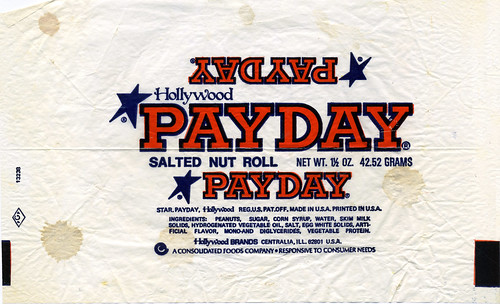 Hollywood Brands - Payday Salted Nut Roll candy bar wrapper 1 1-2 oz - 1970's | by JasonLiebig