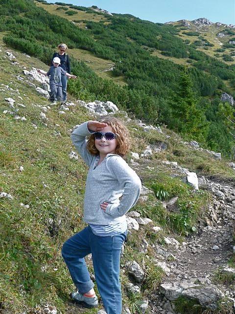 Ellie posing on way down
