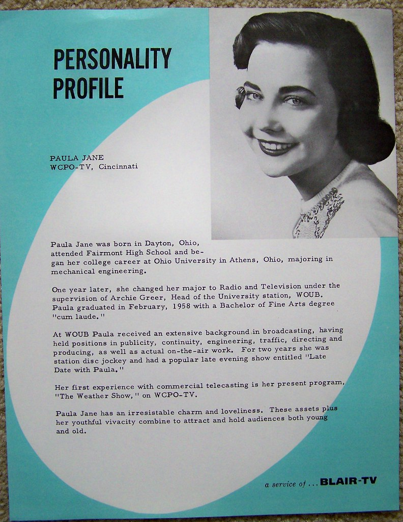 1950s WCPO TV 9 Personality Profile page on PAULA JANE | Flickr