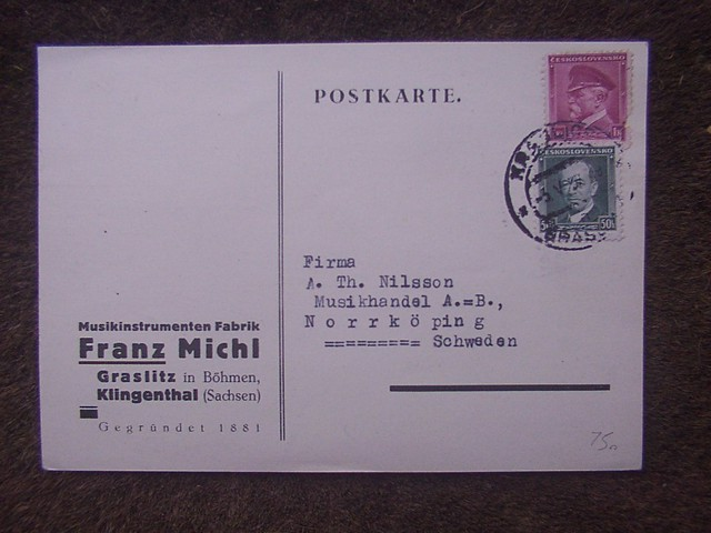 The Sudetenland Musikwinkel - Music Corner. Postkarte, Musikinstrumenten Fabrik Franz Michl, Klingenthal & Graslitz (Graslice) 1937