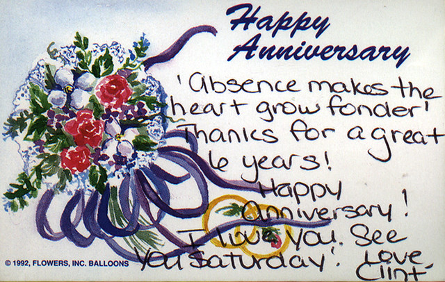 19980210 - anniversary flowers sent to Carolyn by Clint
