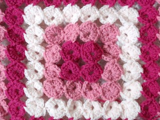 Pink Yo-Yo Afghan in progress