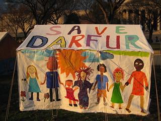 """""""Save Darfur"""" on  tent"""