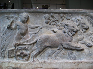 Roman Marble Sarcophagus with the Four Season Referenced in Relief (detail lid reliefs: Eros in chariot pulled by lions[summer])   by peterjr1961