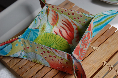 """Folding Fabric Tray made with """"Shimmers of the Sea"""" coll. made by Junie Moon"""