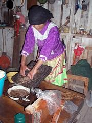 Virginia preparando raices como remedio; Las Canoas (en los limites con Zacatecas), Durango, Mexico