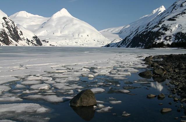 Looking across Portage Lake toward Bard Peak and an invisible Portage Glacier