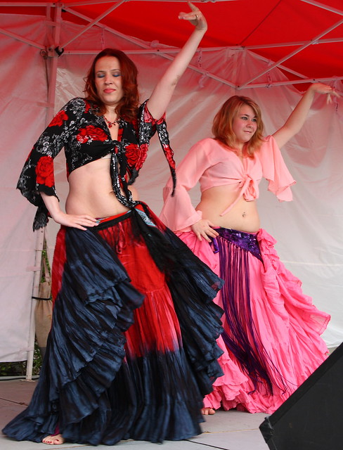 Two lovely dancers warming up the crowd