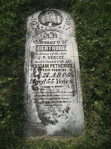 Gertrude (Vercoe) Petherick - buried in 1868 at the South Sparta Cemetery, Yarmouth, Elgin, Ontario, Canada   by Elgin OGS