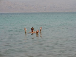 Keith Floating in knee deep water Dead Sea | by amanderson2