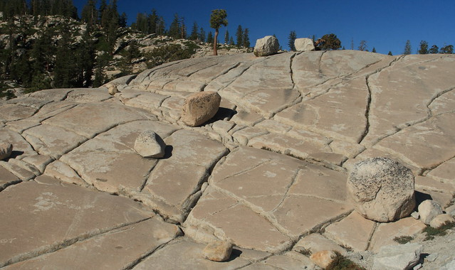 Erratics on fracturing Olmsted Point in Yosemite
