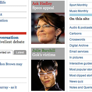 two faces | Sarah Palin and Gok Wan on today's Guardian ...