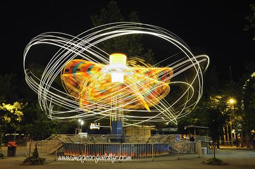 Knoebels Amusement Park, Amusement rides at night, Elysburg, Pa
