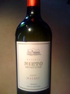 A 2007 Nieto Reserve Malbec from Mendoza, Argentina