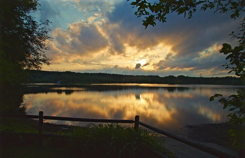 sunset lake storm nature water clouds reflections