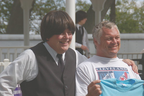 Ringo of the Liverpool Lads poses with a fan after a performance