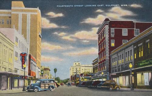night vintage mississippi postcard gulfport cityview