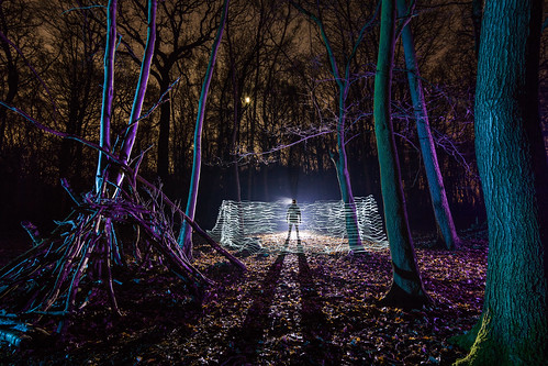 lightpainting colour coloured gels fairy lights torch cree led easthamferry easthamwoods eastham wirral trees rob pitt photography night silhouette darkness