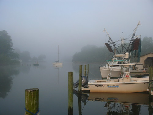 morning fog sailboat boat northcarolina shrimp oriental trawl