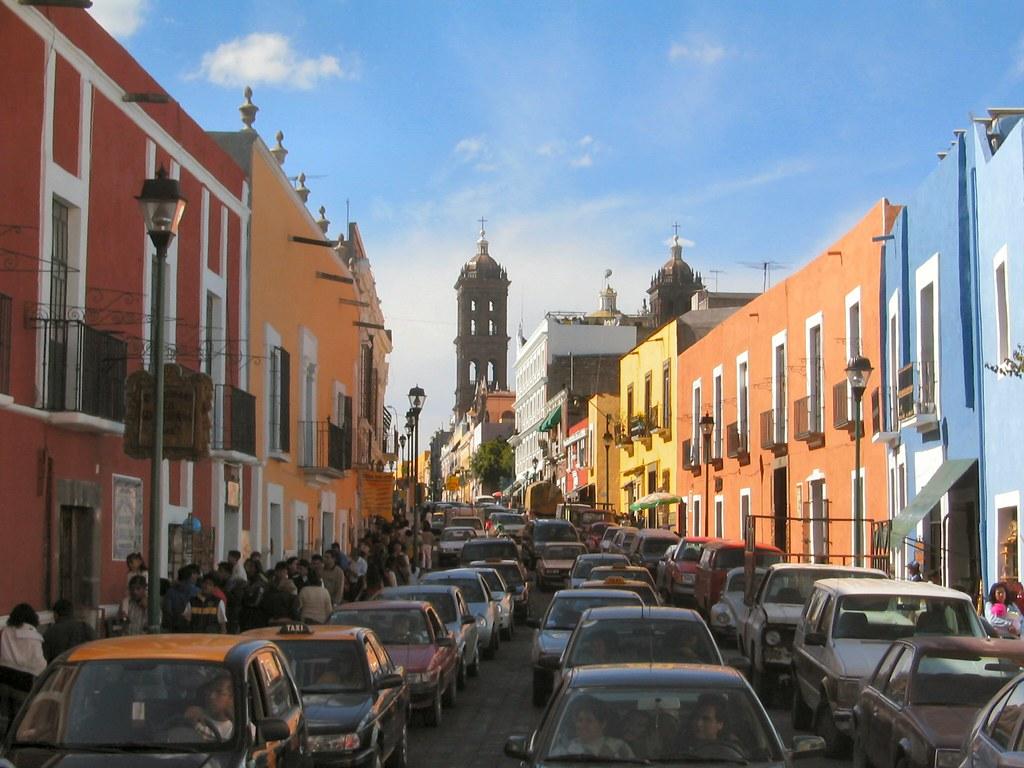 Straße in Puebla.