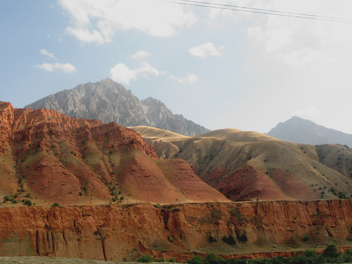 Osh to Sary-Tash: red hills and mountains