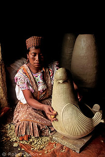 Tzeltal Maya woman making pottery, Amatenango del Valle, C